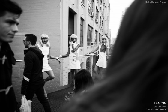 NYC projet experimental séance photo , high line, Robes Témoin, photo behind the scenes